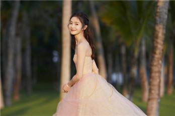 """""""谋女郎""""刘浩存身穿粉纱裙 在海边漫步似""""出逃公主"""""""