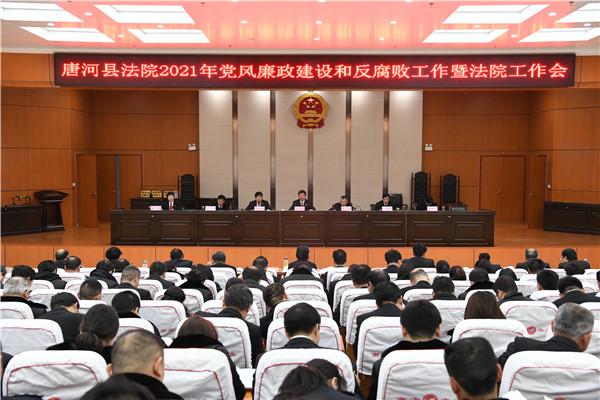 唐河县法院召开2021年党风廉政和反腐败工作暨法院工作会议