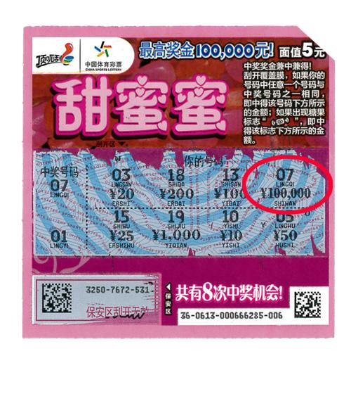 """""""甜蜜蜜""""喜中头奖10万元"""
