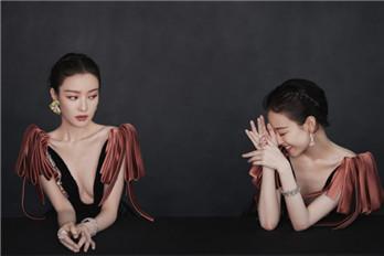 倪妮身着黑色双排钻宫廷风礼服裙 气质绝美