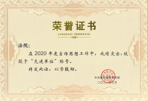 新野县法院宣传思想工作受县委宣传部表彰