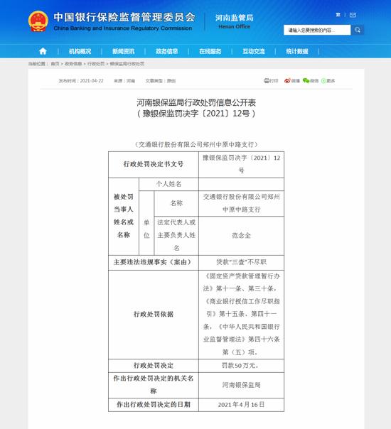 """交通银行郑州中原中路支行因贷款""""三查""""不尽职违规被罚款50万元"""