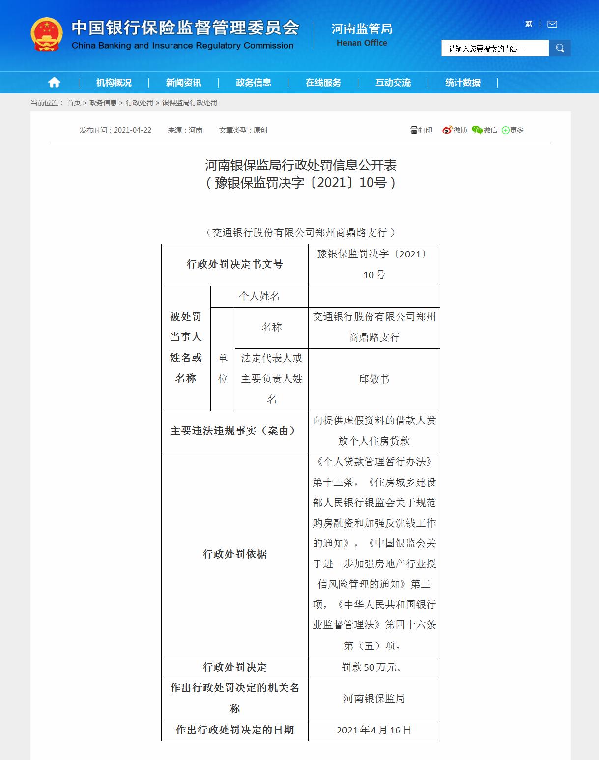 交通银行郑州商鼎路支行被罚款50万元:向虚假资料借款人放贷