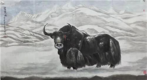 雪域八德——毛君周水墨牦牛画展在郑州市升达艺术馆展出