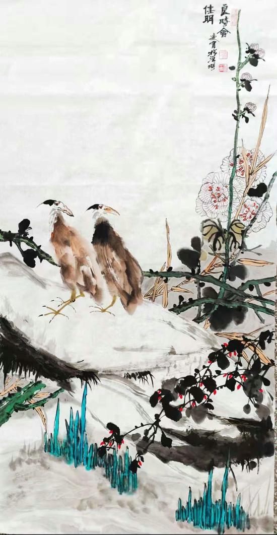 【翰墨颂党恩·丹青绘百年】投稿 张凌霄花鸟作品《良时会》
