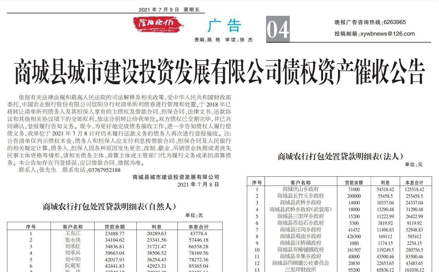 """信阳10个乡镇政府被企业登报催收债务十余日 各方""""冷回应"""""""
