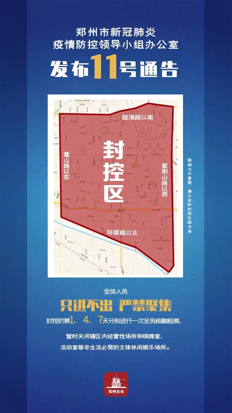 """郑州发布12号通告:扩大封控区,区内人员""""只进不出、严禁聚集"""""""