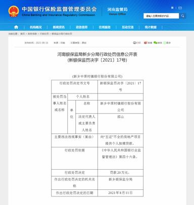 """新乡中原村镇银行因向""""五证""""不全的房地产项目提供个人按揭贷款违规被罚款20万元"""