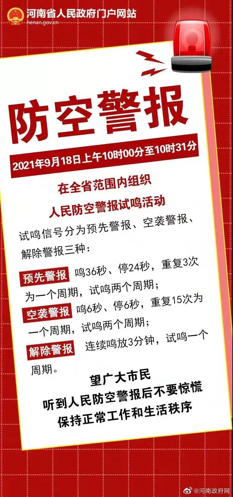 今天上午10时起,河南全省试鸣防空警报